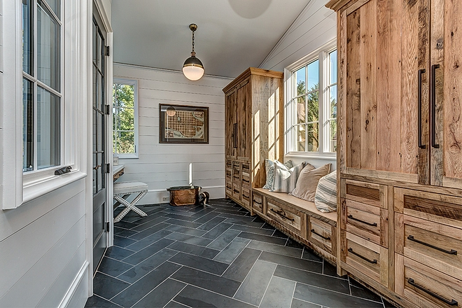 Mudroom cabinet Mudroom features reclaimed white oak cabinets with a clear, matte sealant #mudroomcabinet #reclaimedwood #cabinet