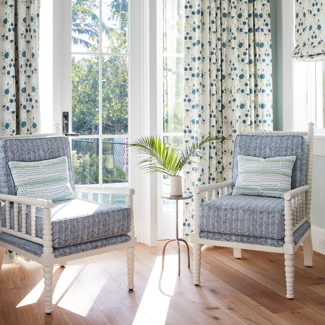 Blue and white chairs Curtain Fabric Alex Conroy's Jaipur Solid Petals in Colorway Sky