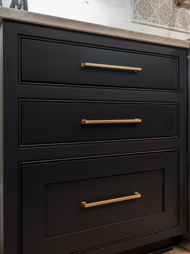 Brass Pull on black cabinets Benjamin Moore Soot cabinet #cabinet #BenjaminMooreSoot