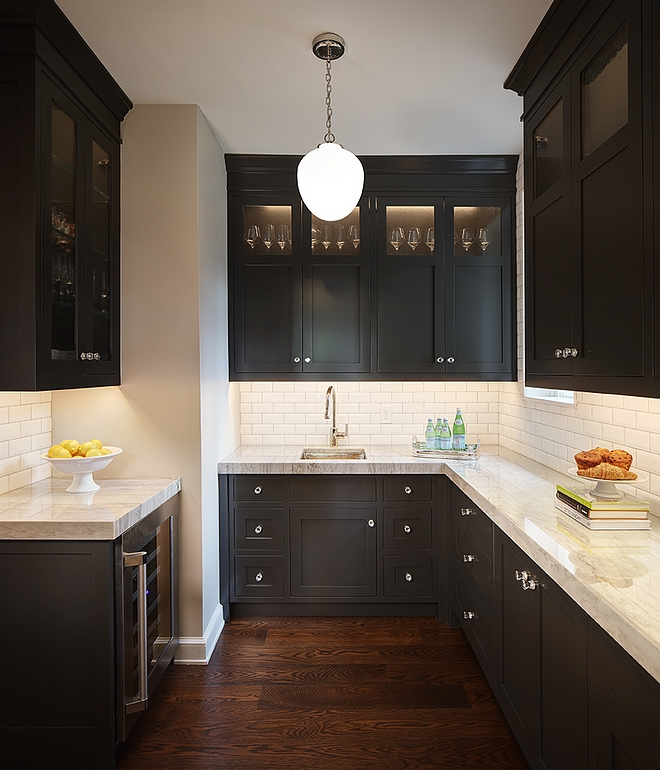 Black Cabinet Paint Color Cabinetry is Sherwin Williams Iron Ore High Gloss #almostblackcabinet #blackcabinet #paintcolor #SherwinWilliamsIronOre