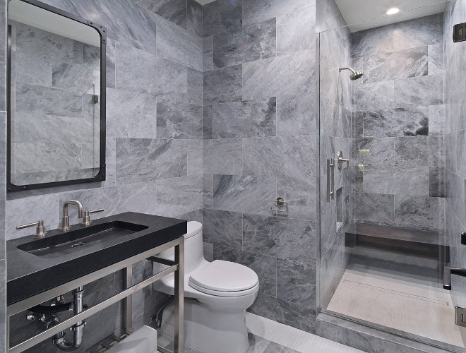 Grey Wall Tile Bathroom Grey Wall Tile Grey Tile Mission Tile Gtigio Verona, Gray Honed 12x24 Bathroom features a washstand with cement sink
