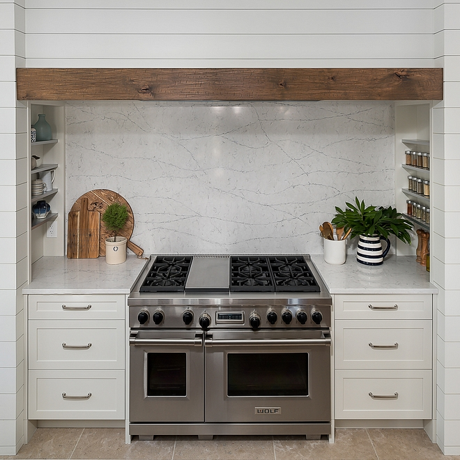 Quartz Slab Backsplash More affordable and more durable than marble quartz makes a great choice for kitchen countertops and slab backsplash #Quartz #Slab #Backsplash