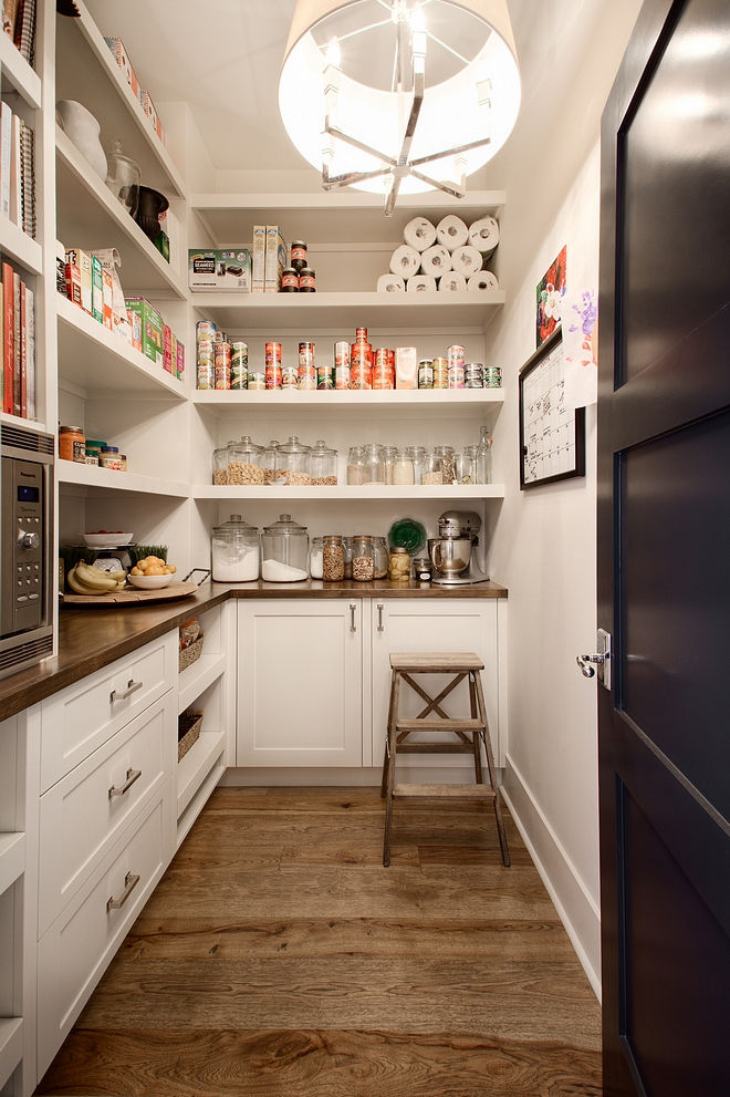 Pantry Kitchen Pantry Dream pantry The pantry features fixed shelves, built-in cabinets and butcher block countertop #pantry