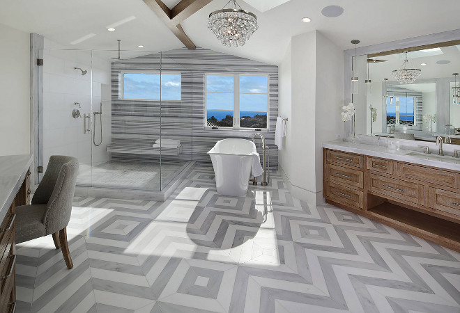 "White and grey bathroom Flooring 24x24"" Honed Stratus and Thassos Tile in Herringbone Pattern Herringbone White and grey bathroom Flooring #bathroomFlooring"