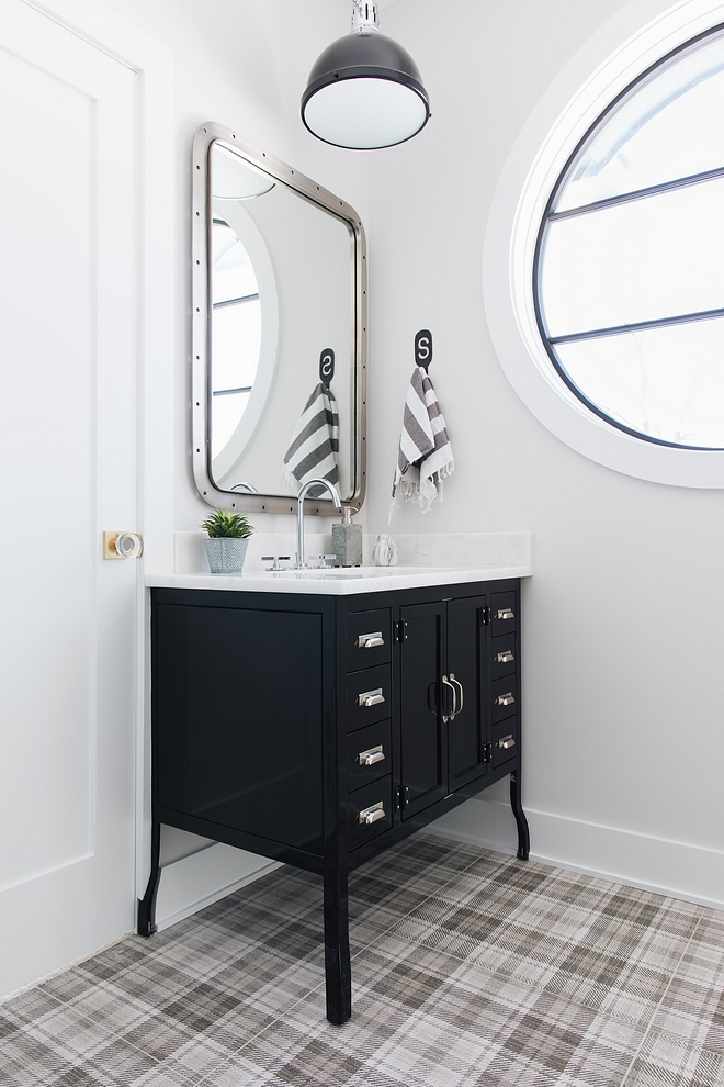 Modern farmhouse bathroom with Metal Pharmacy Washstand from Restoration Hardware sources on Home Buncg