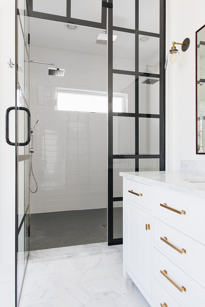 Shower Tile Tile 4x16 White Glossy See shower tile and shower black frame door sources on Home Bunch