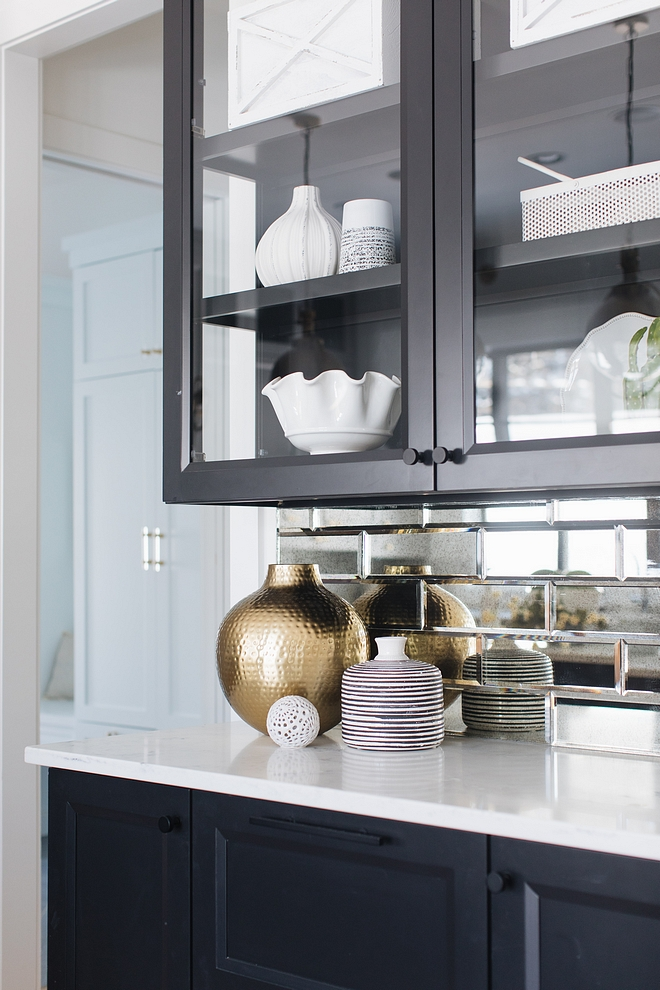 Sherwin Williams TriCorn Black hutch with Beveled Mirror Subway Tile sources on Home Bunch