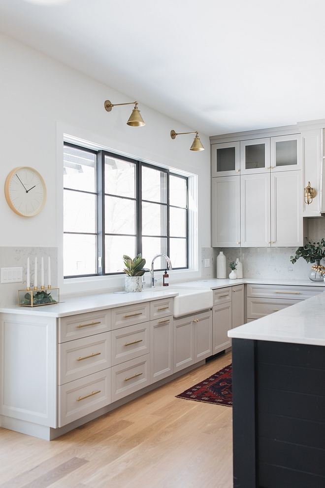 The wall paint color is Sherwin Williams Extra White SW 7006 Light grey kitchen with white walls painted in Sherwin Williams Extra White #SherwinWilliamsExtraWhite
