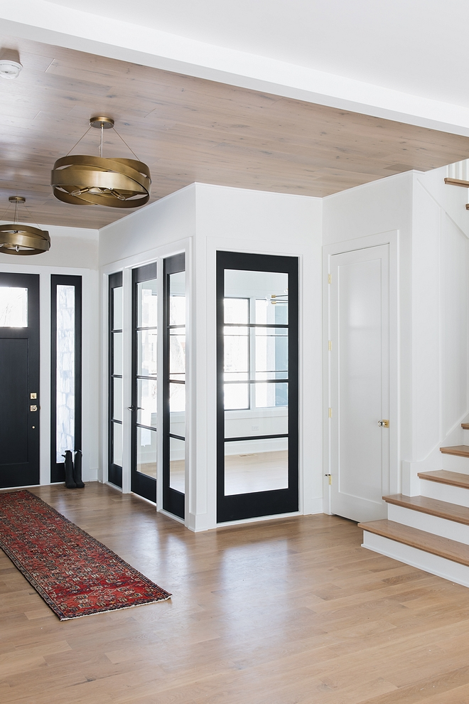 Interior Windows Painted in Sherwin Williams Tricorn Black SW 6258 Home office with Interior Windows Painted in Sherwin Williams Tricorn Black SW 6258 The home office features a mix of black windows and a black steel and glass door #InteriorWindows #SherwinWilliamsTricornBlack #SW6258