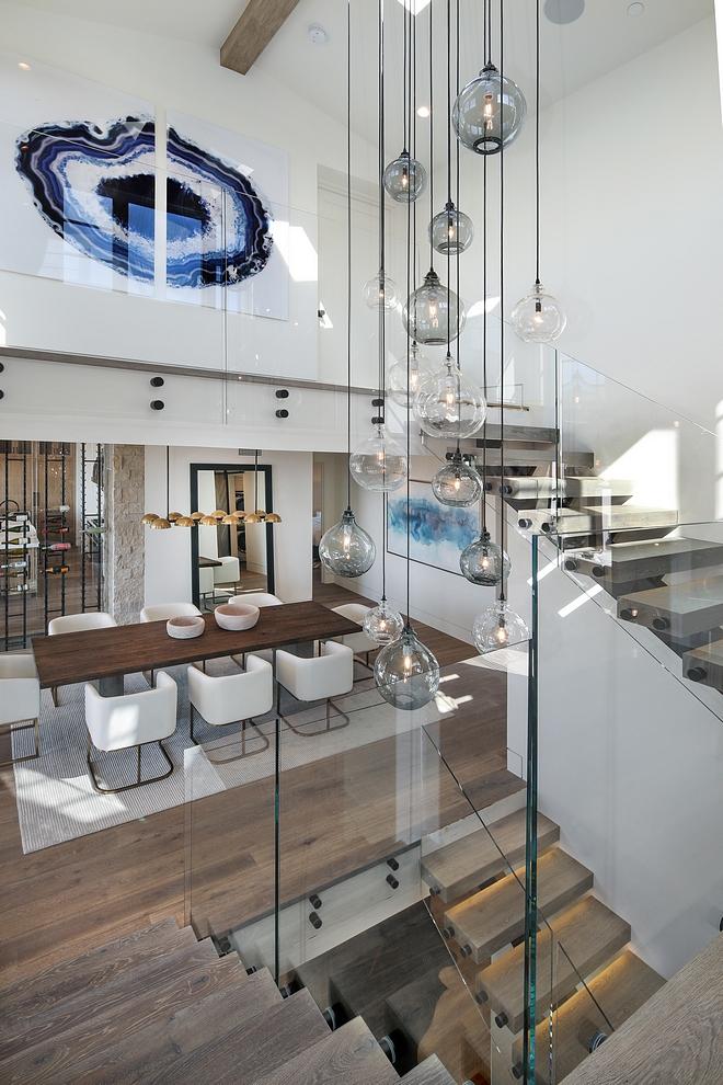 Sculptural Glass Globe Chandelier Staircase with Sculptural Glass Globe Chandelier source on Home Bunch Sculptural Glass Globe Chandelier Sculptural Glass Globe Chandelier #SculpturalGlassGlobeChandelier #GlassGlobeChandelier #GlassGlobe #Chandelier