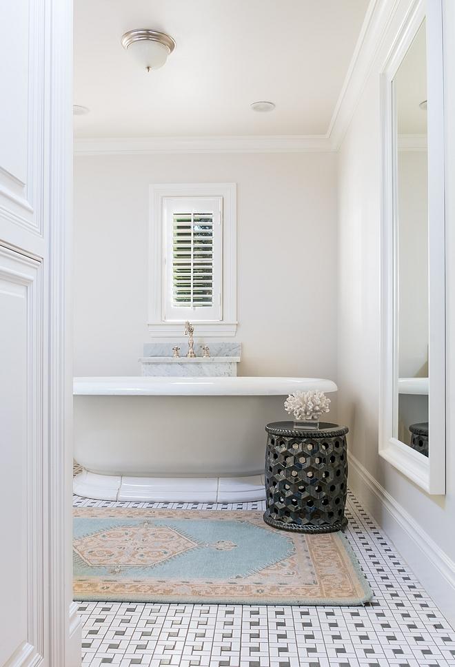 Bathroom Basketweave floor tile Traditional Bathroom with basketweave tile #bathroom #traditionalbathroom #tile #basketweave