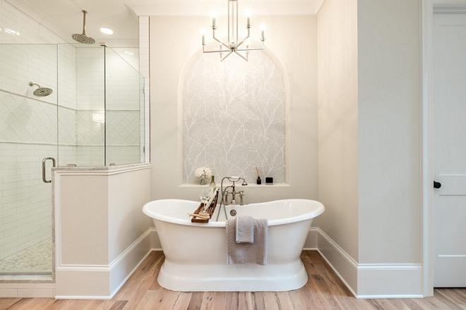 Calming paint color for bathrooms Benjamin Moore OC-46 Halo