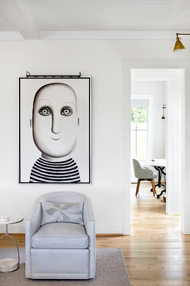 Paint color is Benjamin Moore Simply White Original Art is Raphaelle Seguin more on Home Bunch