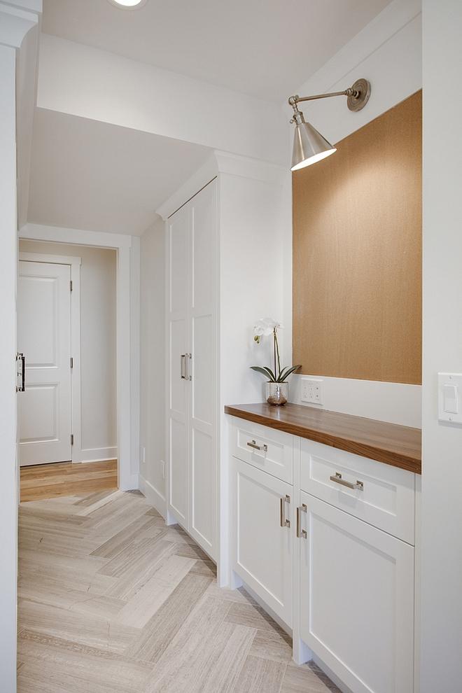 Mudroom Drop Zone Mudroom custom cabinet with drop zone Mudroom Cabinet with Walnut Countertop #mudroom #dropzone #walnut #mudrooms #mudroomcabinet #mudroomcabinetry #mudroomideas