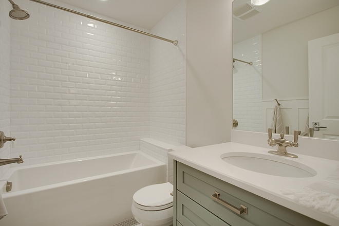 Kids Bathroom Affordable Kids Bathroom Ideas Bathtub with bevel subway tile Countertop is Blizzard Caesarstone Quartz Sources on Home Bunch Kids Bathroom Affordable Kids Bathroom #KidsBathroom #AffordableBathroom