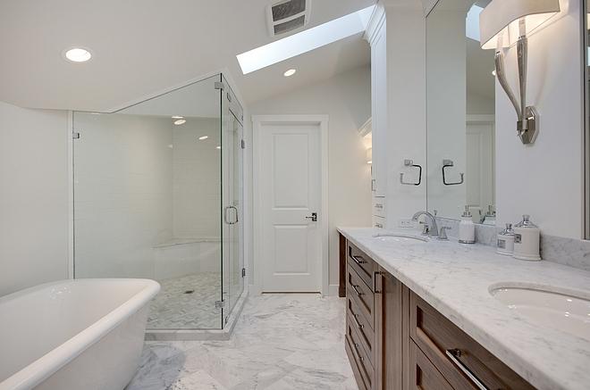 Shower Tile Shower Tile Master Bathroom Shower Tile Shower Tile 3x6 white flat subway tile for walls and ceiling, Carrara herringbone mosaic for shower base and Carrara slab for bench top #ShowerTile #Shower #Tile