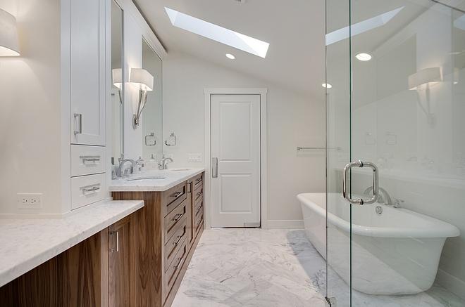 Bathroom Tile Real Marble Floor Tile Real Marble bathroom Tile flooring 6x18 Carrara marble laid in a herringbone pattern #bathroommarbletile #bathroom #marbletile