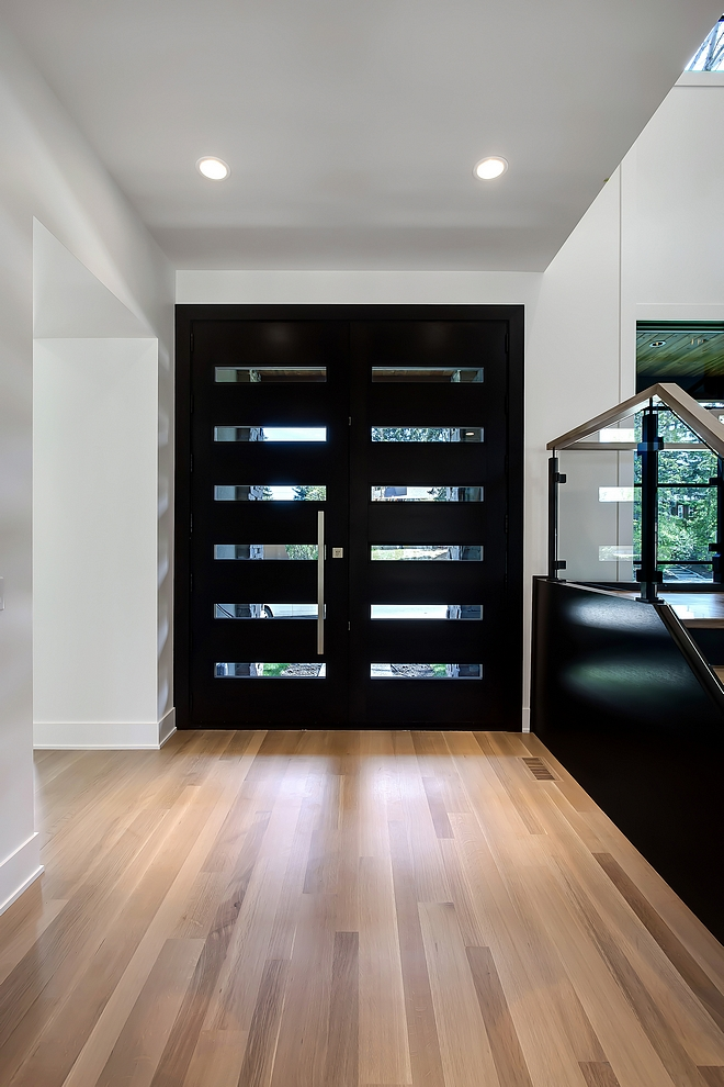 """Hardwood flooring is finished on site 3"""" & 5"""" alternating boards in 1/4 & rift cut white oak finished with a custom stain and Bona Traffic in a matte finish applied #hardwoodflooring #hardwoodfloor #hardwood #flooring"""