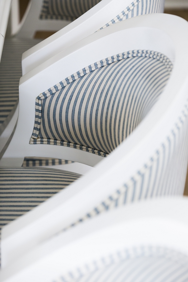 White counterstools with striped blue and white fabric The white counterstools with striped blue and white fabric are custom