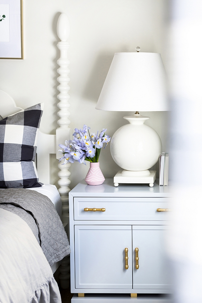 Bedroom Nightstand with large round table lamp and blush pink vase sources nightstand nightstand #nightstand