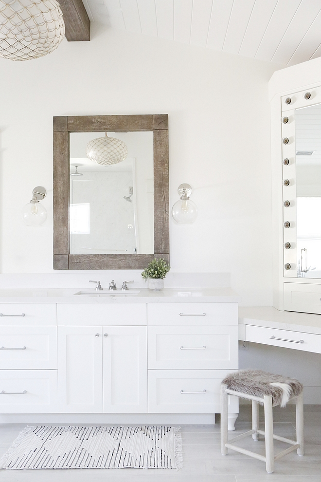 Simply White by Benjamin Moore Bahroom with reclaimed wood beam and reclaimed wood mirror #bathroom #simplywhitebenjaminmoore #reclaimedwood #reclaimedwoodbeam #reclaimedwoodmirror #reclaimedmirror