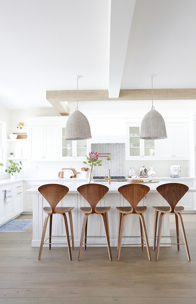 White Kitchen with whitewashed beam, French White Oak hardwood floor and Walnut counterstools White Kitchen with whitewashed beam, French White Oak hardwood floor #WhiteKitchen #whitewashedbeam #FrenchWhiteOak #hardwoodfloor