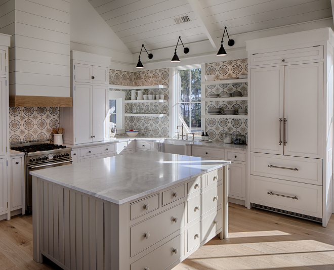 Kitchen Cabinet door style This kitchen features a combination of inset cabinets, shiplap hood and beadboard island Kitchen Cabinet door style Kitchen Cabinet door style #KitchenCabinetdoorstyle #Cabinetdoorstyle