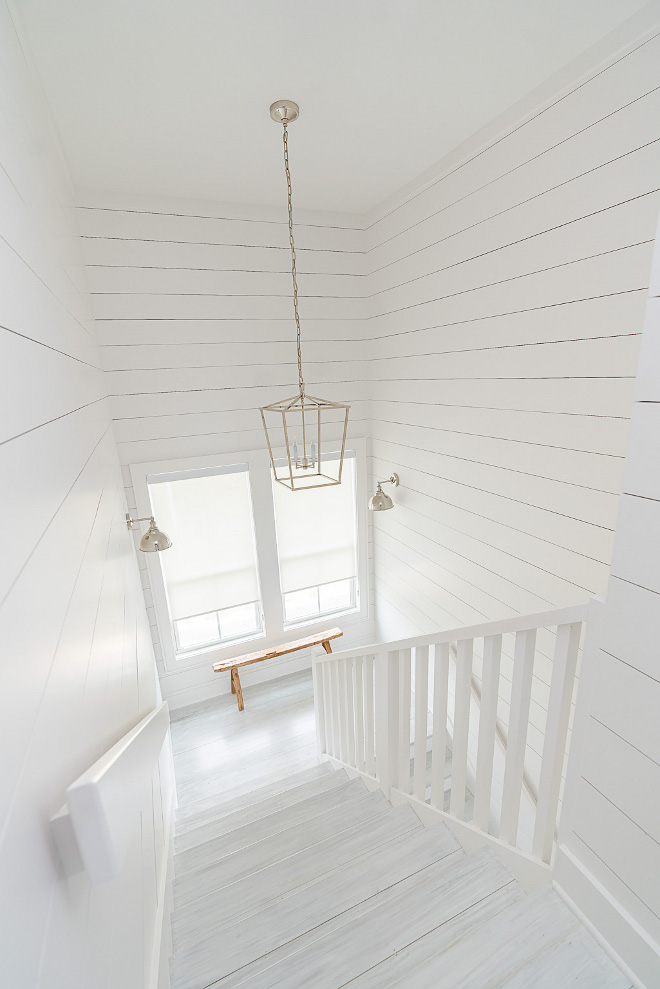 Sherwin Williams SW 7005 Pure White Shiplap and stair threads paint color Sherwin Williams SW 7005 Pure White Sherwin Williams SW 7005 Pure White #SherwinWilliamsSW7005PureWhite