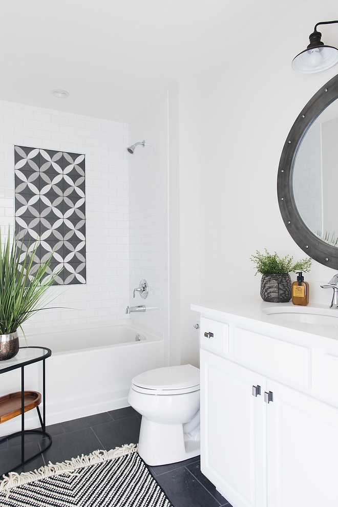 Bathroom Tile I went with a grey or black on the floor and white subway on the walls This will always look clean and fresh and will stand the test of time Bathroom Tile #BathroomTile