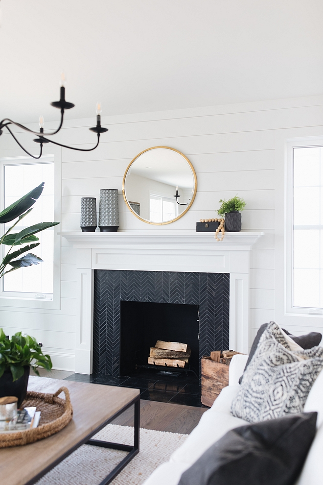 Farmhouse Fireplace with shiplap paneling and black chevron tile Modern Farmhouse Fireplace with shiplap paneling and black chevron tile #modernfarmhouse #FarmhouseFireplace #shiplap #paneling #blackchevrontile #chevrontile