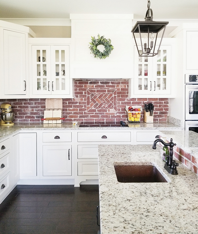 Brick Backsplash The backsplash is General Shale Old Louisville Tudor thin brick White kitchen with Brick Backsplash White kitchen with Brick Backsplash White kitchen with Brick Backsplash White kitchen with Brick Backsplash #Whitekitchen #BrickBacksplash