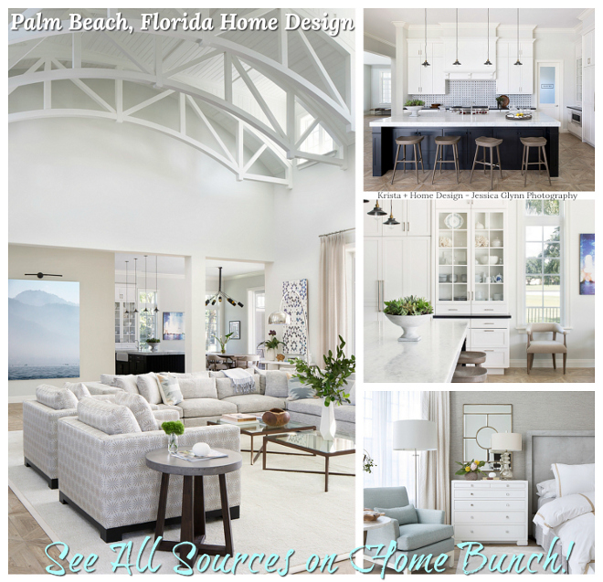 Palm Beach, Florida Home Design Paint colors and decor sources are shared on Home Bunch Palm Beach, Florida Home Design #PalmBeach #FloridaHome #FloridaDesign