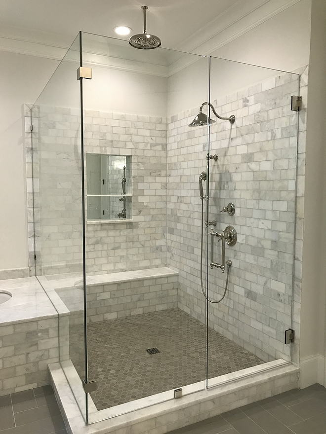 Master shower walls Alba Vera marble 3x6 polished tile #showertile #showerwalls #tile