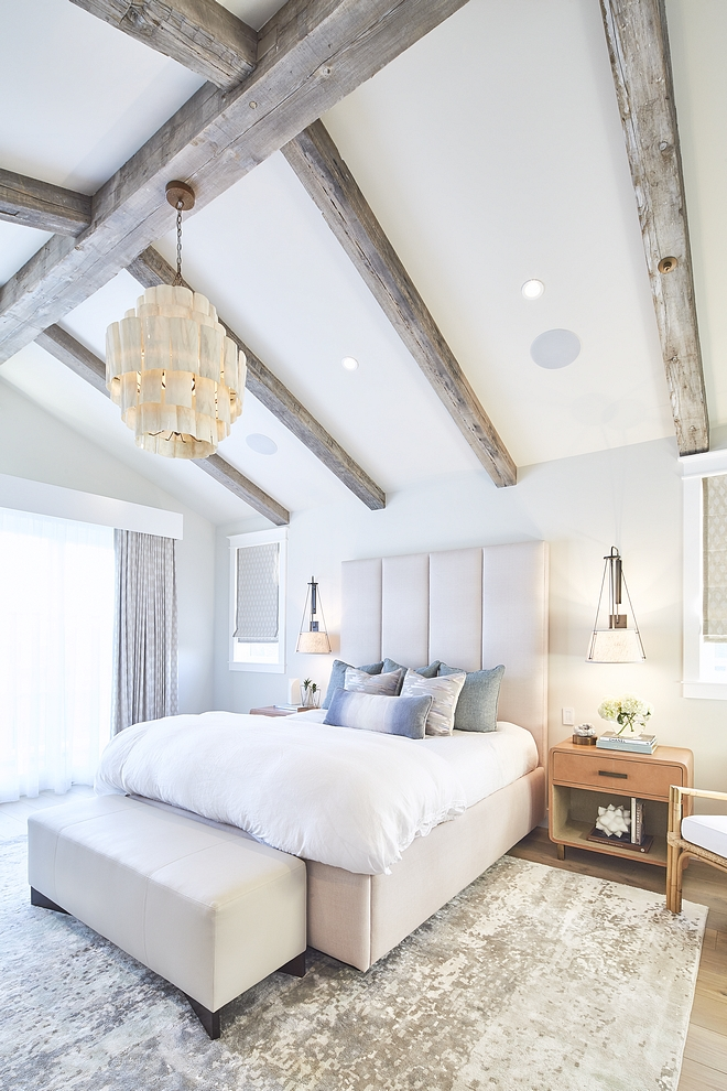 Dunn-Edwards DEC786 'Whisper Grey' Bedroom Grey bedroom paint color with reclaimed wood vaulted ceiling beams Dunn-Edwards DEC786 'Whisper Grey' #DunnEdwardsDEC786WhisperGrey #ceilingbeams #reclaimedbeams #vaultedceiling #bedroom