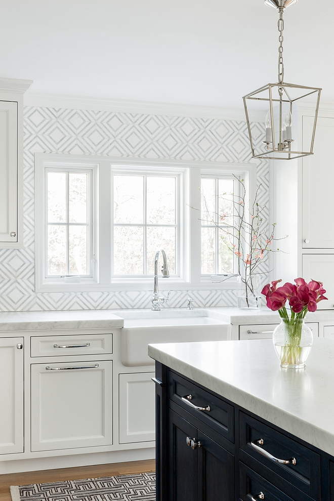 Geometric Backsplash Tile Kitchen with Marble Geometric Backsplash Tile Geometric Backsplash Tile Ideas #GeometricBacksplashTile #GeometricTile #KitchenBacksplashTile