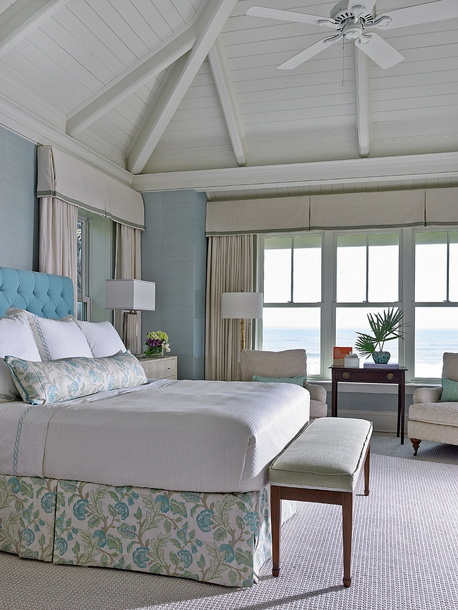 Master Bedroom Classic Coastal master bedroom Ceiling is vaulted painted board on board - BM White Dove in semi-gloss #masterbedroom #coastal #coastalbedroom #classiccoastal