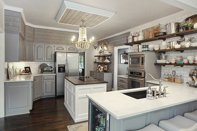 Kitchen renovation Add shiplap above cabinets and paint your kitchen to update older cabinets #kitchenreno #kitchenreno #shiplapabovecabinets #kitchen #kitchenremodel #kitchenupdateideas #updatekitchen