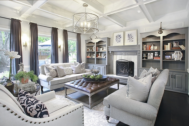 Chelsea Gray by Benjamin Moore Living Room Built-in Cabinets are Chelsea Gray by Benjamin Moore Chelsea Gray by Benjamin Moore Built-in Cabinets are Chelsea Gray by Benjamin Moore Coffered Ceiling is SW Dover White #ChelseaGraybyBenjaminMoore
