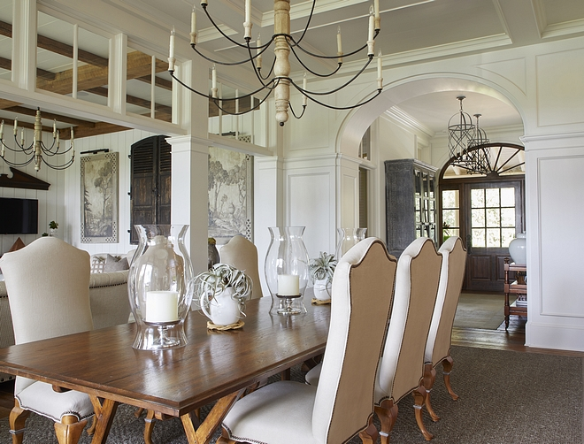 Transoms The kitchen, dining, and living rooms functionally flow together, but the columns and transoms visually distinguish each space The transoms also recall old antebellum homes which used them for cross-ventillation #transoms