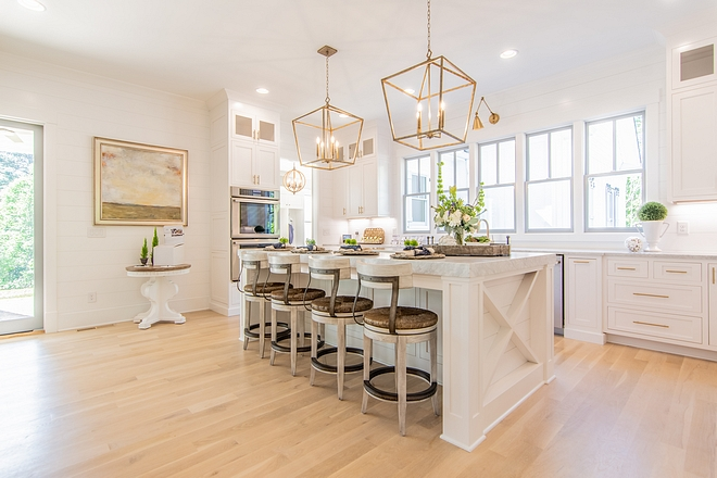 White kitchen with shiplap and x inset island Modern farmhouse White kitchen with shiplap and x inset island White kitchen with shiplap and x inset island #Whitekitchen #shiplap #xkitchenisland