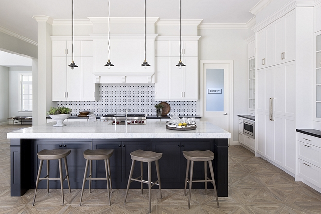 -Kitchen features oversized dining area, parquet floors, leathered marble countertops and dream pantry with custom cabinetry #kitchen #kitcheninspo #kitchengoals
