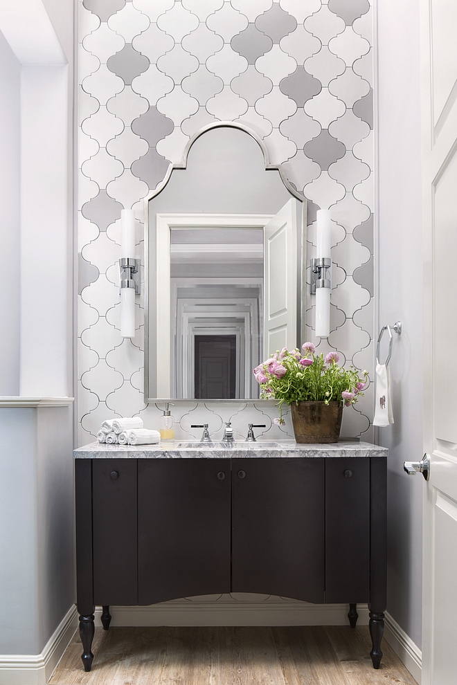 Benjamin Moore OC-52 Gray Owl Bathroom painted in Benjamin Moore OC-52 Gray Owl with accent wall tile Benjamin Moore OC-52 Gray Owl #BenjaminMooreOC52GrayOwl
