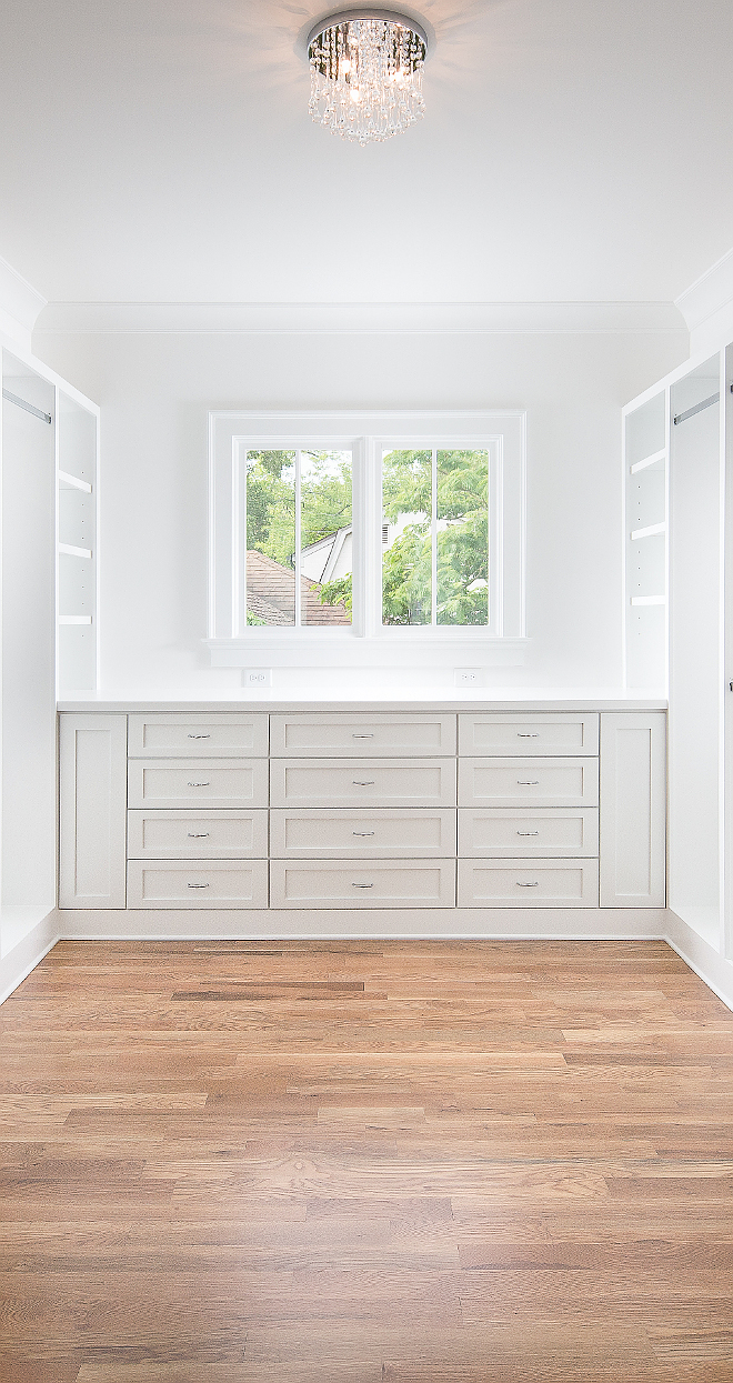 Closet Built in Dresser I am loving the idea of having a built-in dresser tucked under a window isntead of having an island This allows the space to feel more open and less cluttered Closet #Closet #BuiltinDresser #Dresser #closetDresser