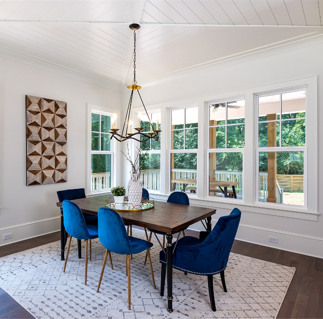 "Dining Room X Beam Ceiling The ceiling is called an ""x-beam"" ceiling, and we inset shiplap trim to add texture and visual interest, and because Chip and Joanna Gaines and the whole Modern Farmhouse style called for it #XBeamCeiling"