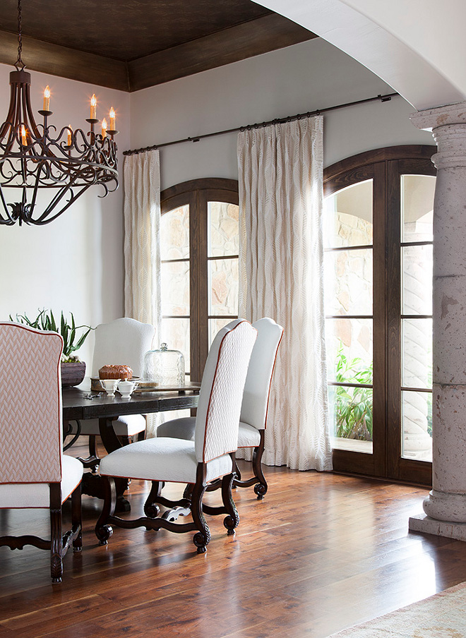 Dining Room Recovered dining chairs, reupholster dining chairs in a textured off white fabric Recovered dining chairs, reupholster dining chairs in a textured off white fabric on inside seat and front upper Back to have contrast fabric ornate pattern with rust trim #diningroom #diningchairs