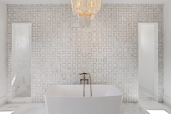 Feature marble wall – Carrera marble valentino white square polished marble mosaic tile #Featuremarblewall #Carreramarble #valentinomarble #whitesquaremarblemosaictile #polishedmarble #mosaictile