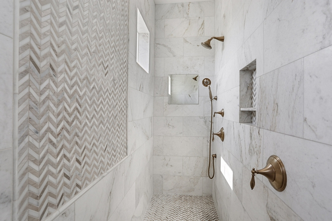 Marble Walk in Shower This walk-in shower is a dream It's spacious and you don't need to worry about cleaning any glass Marble Walk in Shower #MarbleWalkinShower #Shower