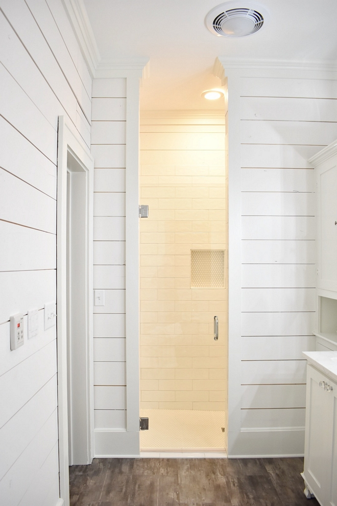 Shiplap Shower Shiplap Shower The shower features subway tile and penny round floor tile Shiplap Shower Shiplap Shower Shiplap Shower #ShiplapShower