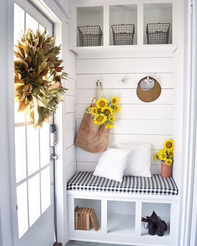 Small Mudroom Small mudroom with bench and shiplap The knobs are the former plumbing fixtures from the master bath #SmallMudroom #mudroom #mudroombench #shiplap
