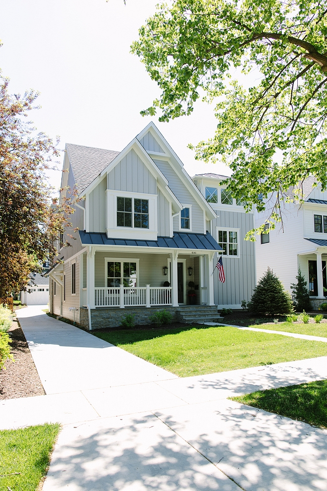 Hardie siding and board and batten in Pearl Gray Exterior Trim Hardie Trim in Arctic White #Hardiesiding #boardandbatten #HardiePearlGray #GrayExterior #HardieTrim #ArcticWhite